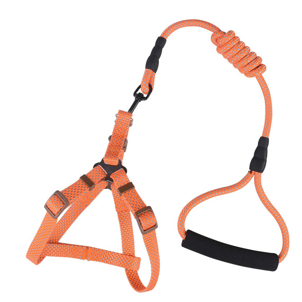 orange Small orange Small Adjustable Dog Harness, Dog Collar + Chest Straps with Handle,Keeps Your Dog Safe On Walks and Car Rides