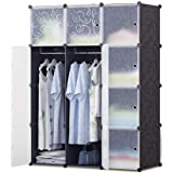 12 Storage Cube Organizer Wardrobe Modular Closet Plastic Cabinet, Cubby Shelving Storage Drawer Unit, DIY Modular Bookcase Closet System with Doors for Clothes, Shoes, Toys Black and White