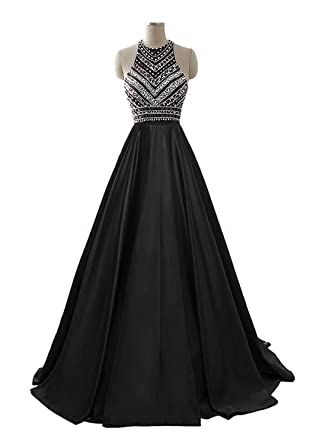 HEIMO Women s Sequins Evening Party Gowns Beading Formal Prom Dresses Long  H187 2 Black d90ddcec2fd9