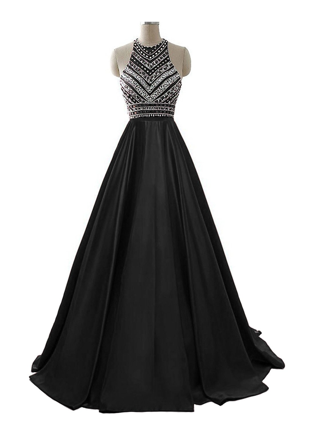 HEIMO Women's Sequins Evening Party Gowns Beading Formal Prom Dresses Long H187 16 Black