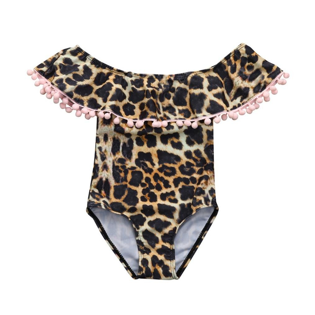 Digood Baby Kids Girl Leopard Print Tassel Ruffle One Piece Swimsuit Swimwear Bathsuit Clothes