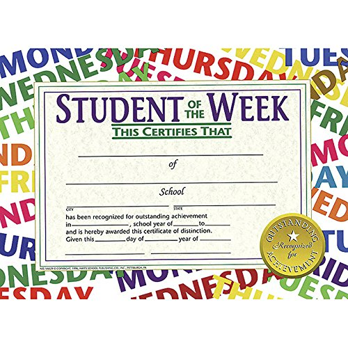 (Hayes Student of The Week Certificate, 11 x 8-1/2 inches, Paper, Pack of 30 )