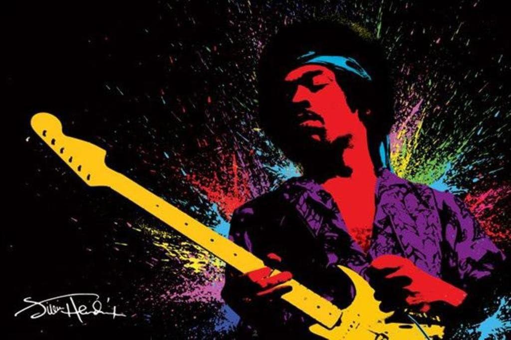 1art1 49087 Jimi Hendrix - Póster psicodélico de Hendrix con ...