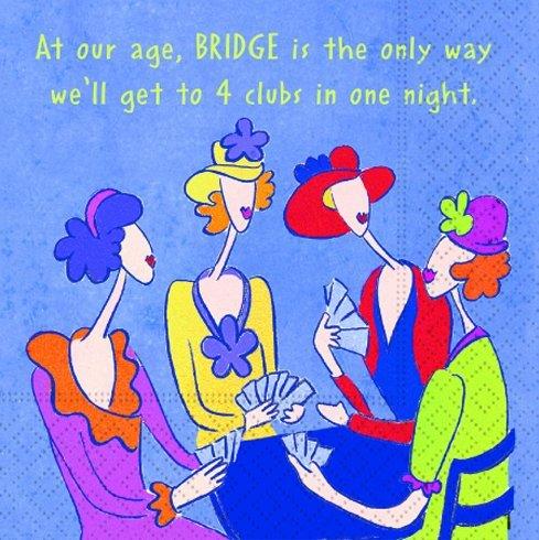 Bridge Party Supplies - 20 Bridge Napkins for Bridge Groups - Four Clubs in One Night