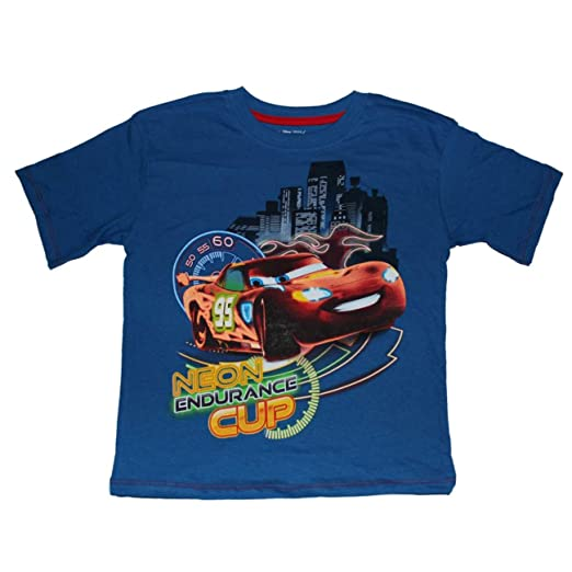 Amazon.com  Disney Pixar Cars Neon Endurance Cup Boys T-shirt 4-7 ... c948ad49b