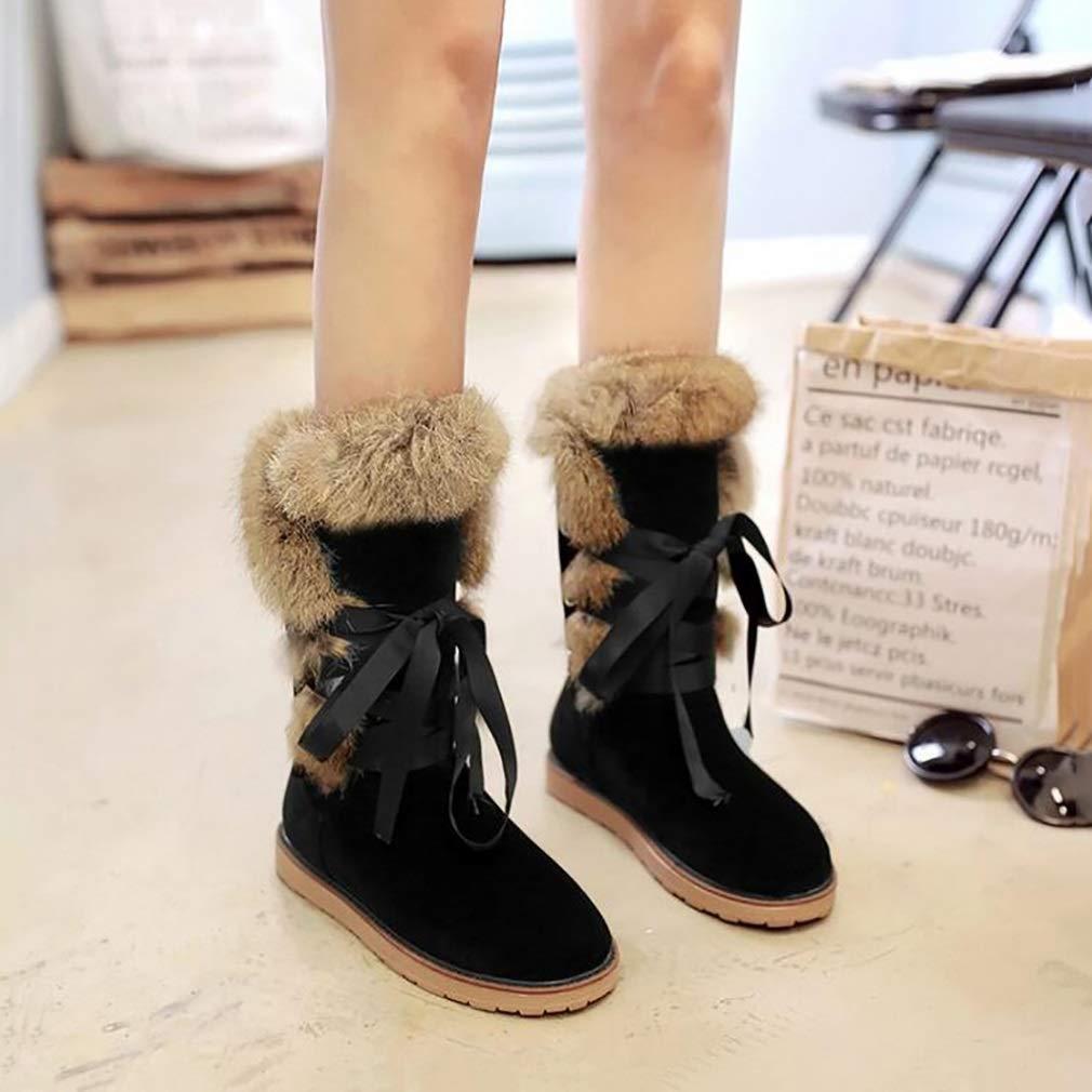 Hy Frauen Stiefel Winter Künstliche PU Schneeschuhe Stiefel/Damen Warm Lässig Plus Dicke Lässig Warm Booties/Student Große Größe Flache Stiefel Lace-up Stiefeletten (Farbe : B, Größe : 40) - 5dfc5c