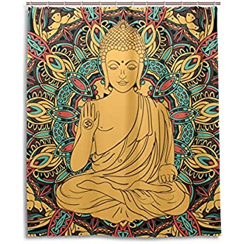 ZOEO Bath Shower Curtain 60x72 Inch Buddha Yoga Meditation Floral Aura  Spiritual Waterproof Polyester Fabric Bathroom Curtain