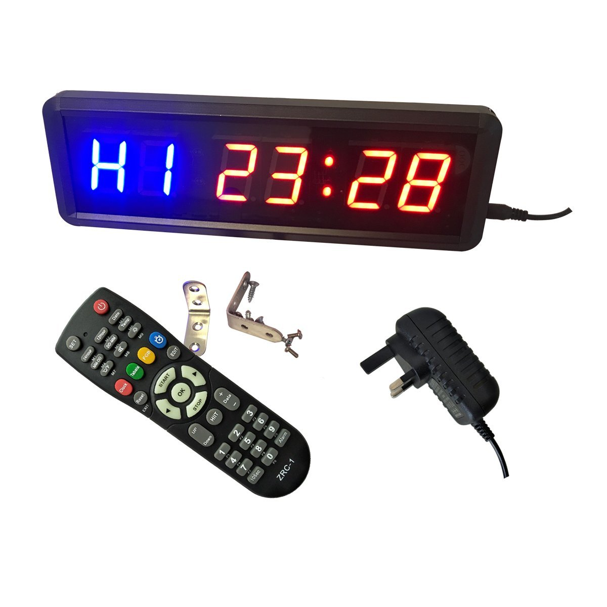 Ledgital Gym Timer 11x3.5x1.4in w/Remote Control for Indoor Use UK plug Only DLC Electronics