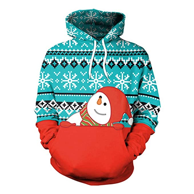 Clearance Unisex Couples Hoodies 3D Christmas Santa Print Hooded Blouse Tops Shirt at Amazon Womens Clothing store: