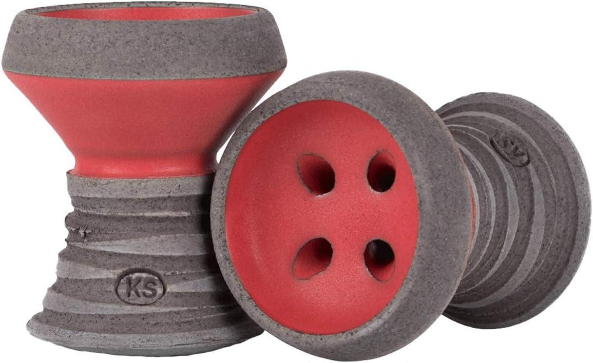 KS Appo Eco-Edition - Cazoleta de piedra para shisha (apta para todas las cachimbas, ahorra tabaco), color rojo