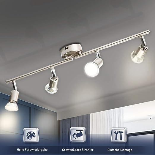 LED Deckenlampe 4-flammig GU10 Deckenleuchte Flur Küchen Decken-Strahler Spot s