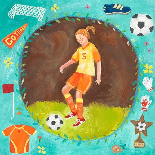 Oopsy Daisy Soccer Star- Girl Stretched Canvas Wall Art by Donna Ingemanson, 14 by 14-Inch ()