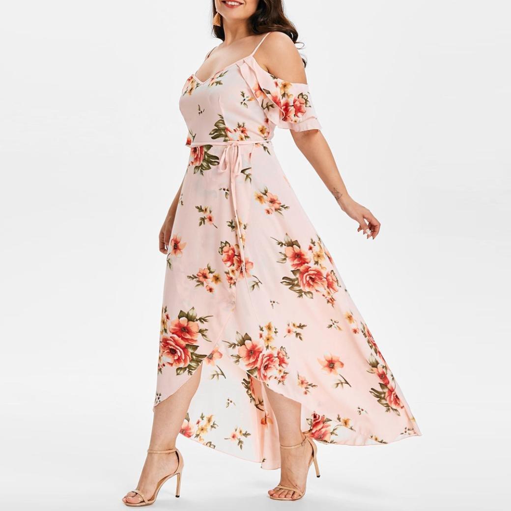 e26ceead746 Women Summer Plus Size Boho Floral Dress Casual Short Sleeve Cold Shoulder  Sling Beach Long Maxi larger image
