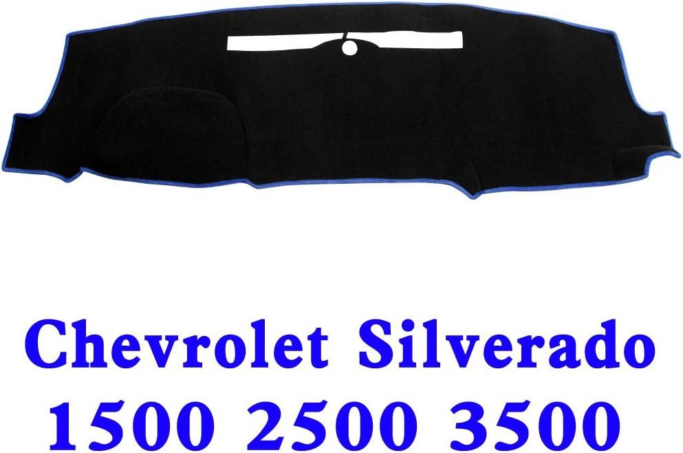 JIAKANUO Auto Car Dashboard Carpet Dash Board Cover Mat Fit Chevrolet Silverado 1500 2500 3500 2014-2017 (BLK-BLU MR-032)
