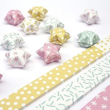 Papierstreifen Zum Sterne Basteln Origami Bastelset Für 75 Lucky Stars 6 Verschiedene Muster Pastell Hell