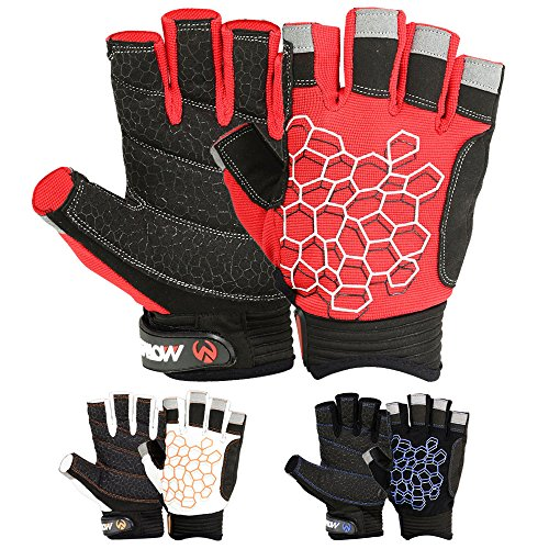 SAILING GLOVES STICKY Palm Gripy Glove Yachting Kayak Dinghy Fishing Short Finger Multi Colors (Black/Red, XL)