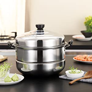 Nadalan Stainless Steel Stack Steam Pot Set Saucepot Double Boiler Cookware Pot 2 Tier (32cm)