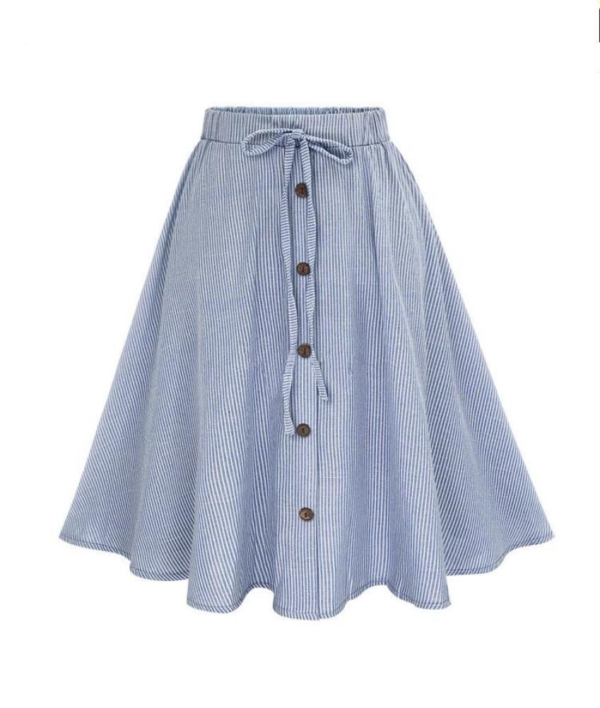 Women Love Stripe Skirt, Lady Girl Lace Single-Breasted Plain Skater Flared High Waist Skirt (L)