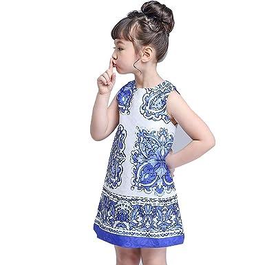 ee03e0a34322 Amazon.com  Huiya Summer Girls Dress Children Designer Brand Rose Blue  White Porcelain Sleeveless Princess Party Kids Dresses Clothes  Clothing