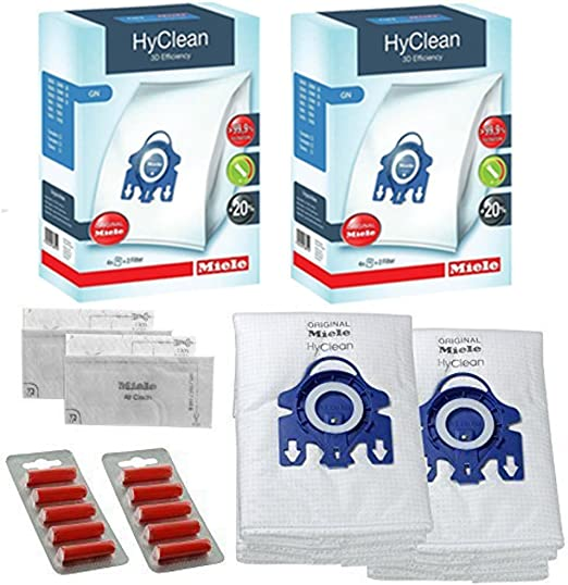 Miele GN – HyClean GN Cat & Dog Vacuum Bags + Filters – 2 Packs – 8 Bags + 4 Filters + 10 Fresheners