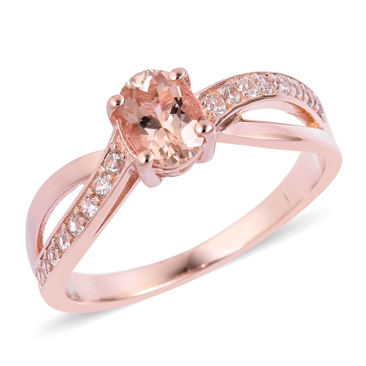 925 Sterling Silver Vermeil Rose Gold Plated 0.9 Cttw Oval Morganite, White Zircon Ring For Women Size 5
