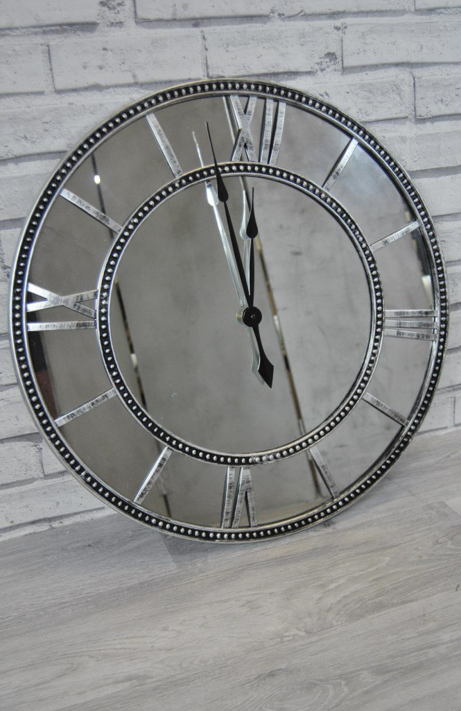 Four Seasons- Extra Large Wall Clock Black Grey Silver Pewter Metal Mirrored Wall Clock Four Seasons Liverpool
