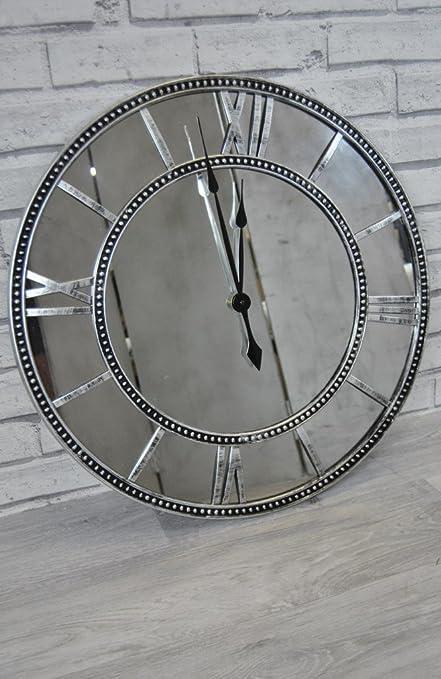Four Seasons Extra Large Wall Clock Black Grey Silver Pewter Metal