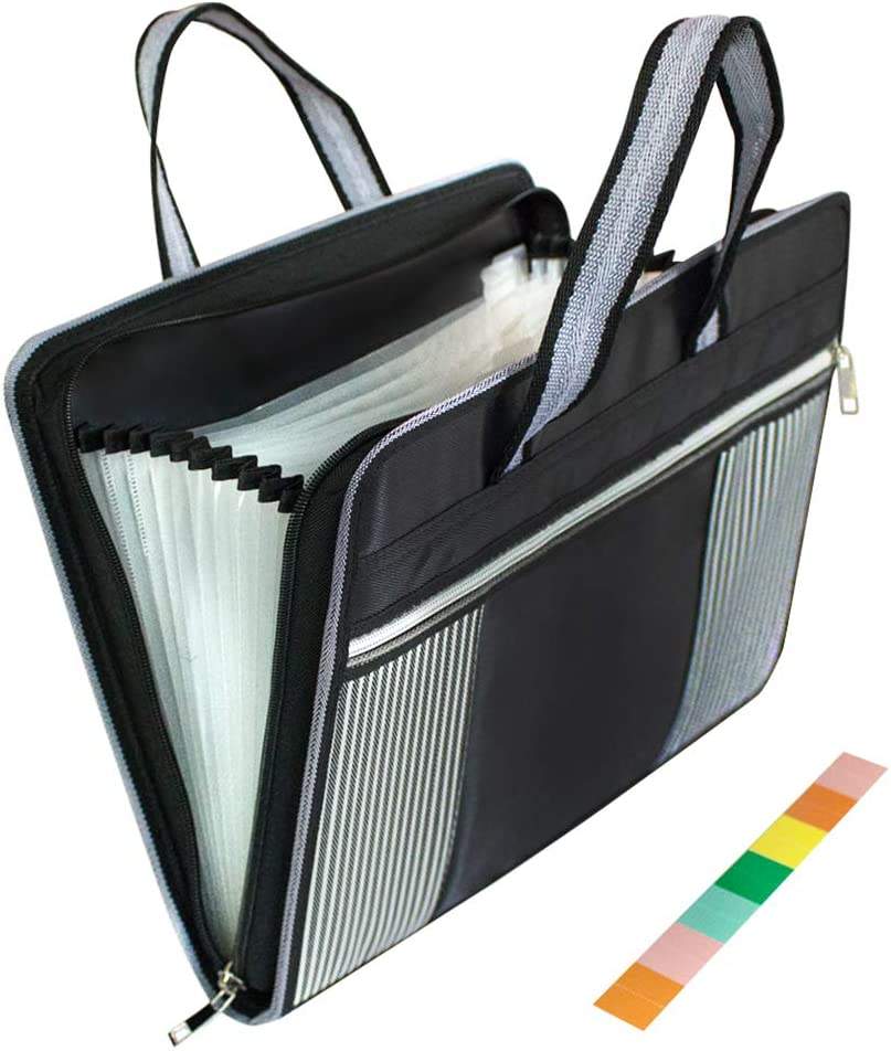 SnailGarden Expanding File Folder-A4 Letter Size-Portable Accordion File Organizer with Handle & Zip-Waterproof 13 Pockets Document Organizer with Colored Labels for Office School Use(Black)