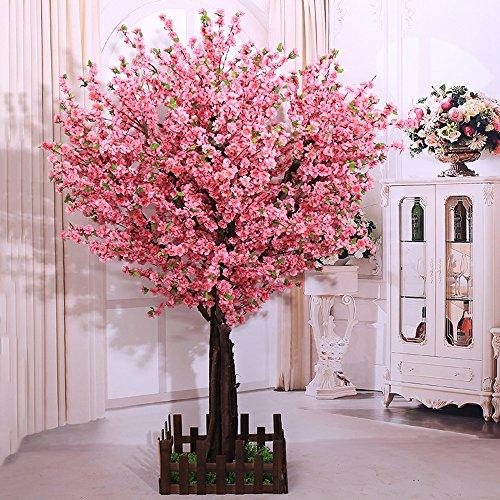 j-beauty Artificial Peach Blossom Trees Artificial Cherry Blossom Tree, Silk Flower (4 feet Tall)