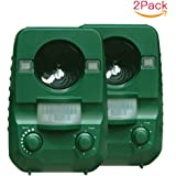 Cat Repellent, AngLink 2-Pack Ultrasonic Animal Repeller Solar Battery Operated Ourdoor Waterproof Electronic Dog Cat Scarer Deterrent with Ground Stake for Garden Yard Field Farm Glassland