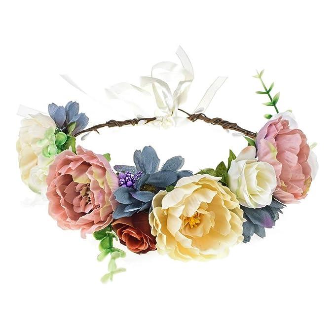 Vividsun Wedding Party Flower Crown Floral Wreath Headband Floral Garland  Headpiece (1-blue  4d828d8b7f4