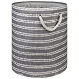 "DII Woven Paper Basket or Bin (Large Round - 15x20""), Gray & White"