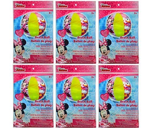 6 Packs- Minnie Mouse Inflatable 20'' Beach Ball