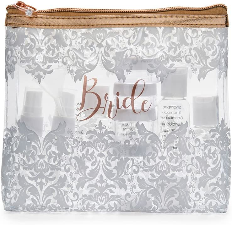 Miamica Womens Bride TSA Compliant Travel Bottles and Toiletry Bag Kit 15 Piece Rose Gold