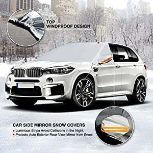AUDEW Windshield Snow Cover Car Snow Cover Windproof Frost Ice Guard Protects Windshield Wiper and Mirror with hooks Universal for Cars, SUVs