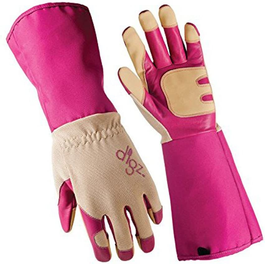 DIGZ Women's Long Cuff Grain Goatskin Rose Picker Gloves Extended Cuff Heavy Duty (Extra Large, 1 Pair)