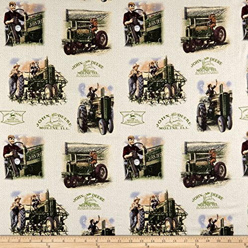 Springs Creative Products John Deere Vintage Cotton Scenic Light Khaki Fabric by The Yard