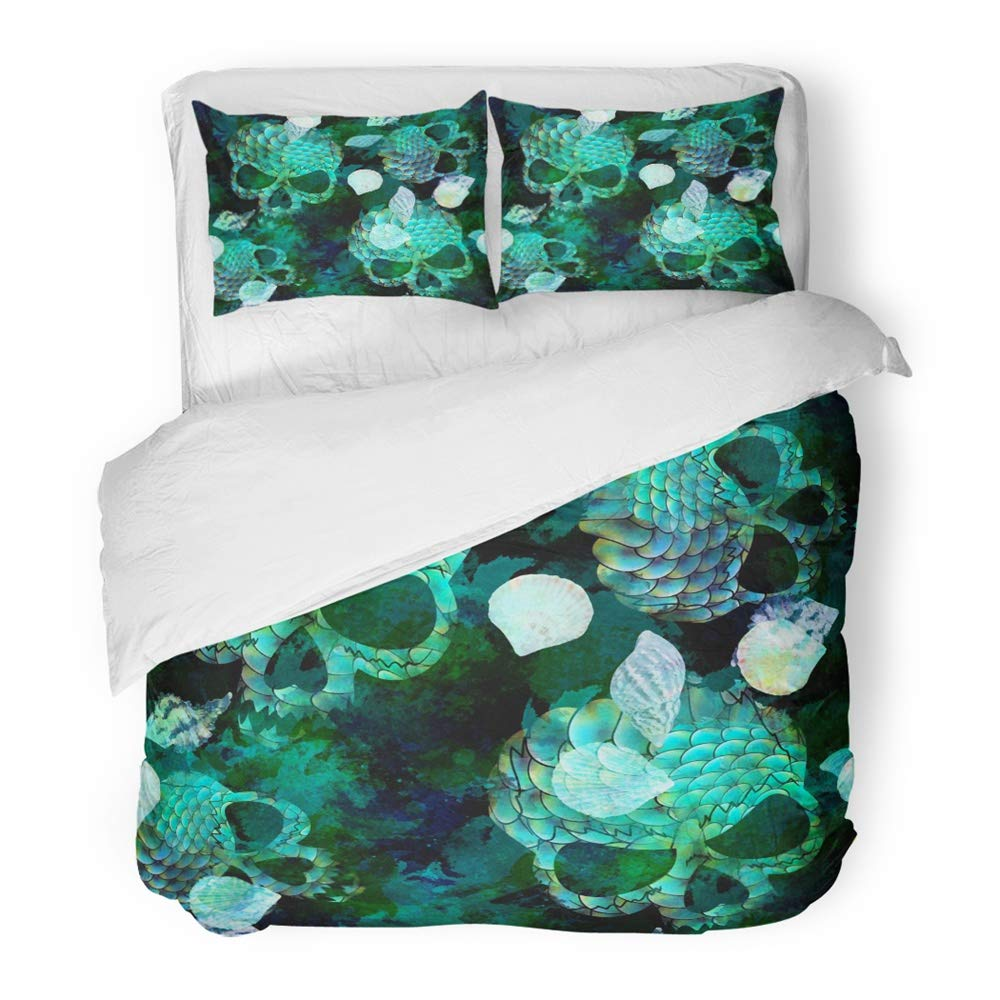Emvency 3 Piece Duvet Cover Set Brushed Microfiber Fabric Breathable Blue Marine Scary with Mermaid Scale Seashells Skulls and Watercolor Effect Bedding Set with 2 Pillow Covers Full/Queen Size
