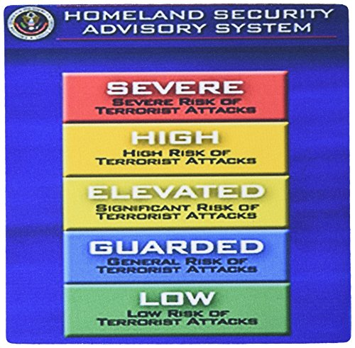 Price comparison product image 3dRose LLC 8 X 8 X 0.25 Inches Mouse Pad Image of Chart with Levels of Danger From Homeland Security (Mp_181069_1)