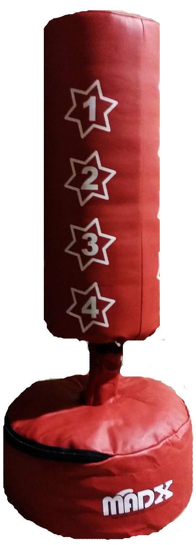 MADX - Saco de boxeo de suelo para niños (guantes incluidos), color rojo