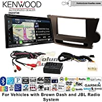 Volunteer Audio Kenwood DNX574S Double Din Radio Install Kit with GPS Navigation Apple CarPlay Android Auto Fits 2008-2013 Toyota Highlander with Amplified System (Brown)