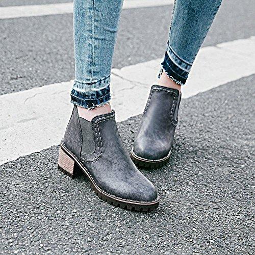 Charm Foot Womens Chic Chunky Mid Heel Chelsea Boots Grigio