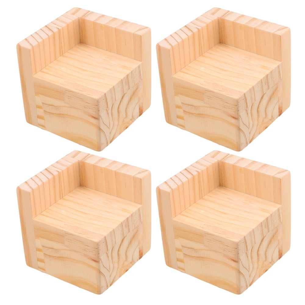 Mxfans 4X Wood Home Furniture Riser Bed Lifters 6x6CM Feet 5CM Lift Height