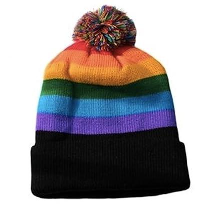 Ski Cap Short Pom Pom Rainbow Black Brim Winter Cap. LGBT Gay   Lesbian  Pride 9ec906d008f