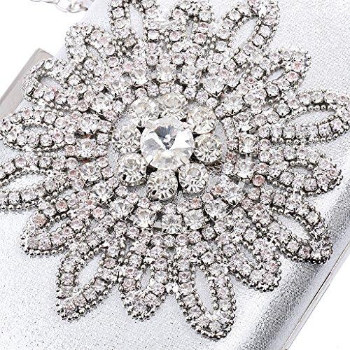 Silver Evening Diamante Crystal Purse Bag Sunflower Bridal Wedding Accessory Prom MagiDeal Clutch Party Xqfw7Ox