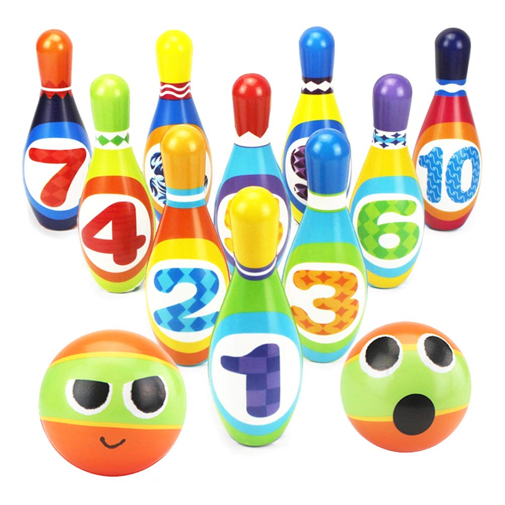YIMORE Bowling Set Skittles Game for Kids with 10 Pins and 2 Balls Indoor Toy Gifts for Children Toddler Boys Girls Early Development