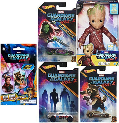Guardians of the Galaxy Exclusive Groot Figure & Rocket Raccoon Hot Wheels Cars Marvel Vol. 2 Collectibles 3 pack + Dog Tag + Sticker Blind Bag