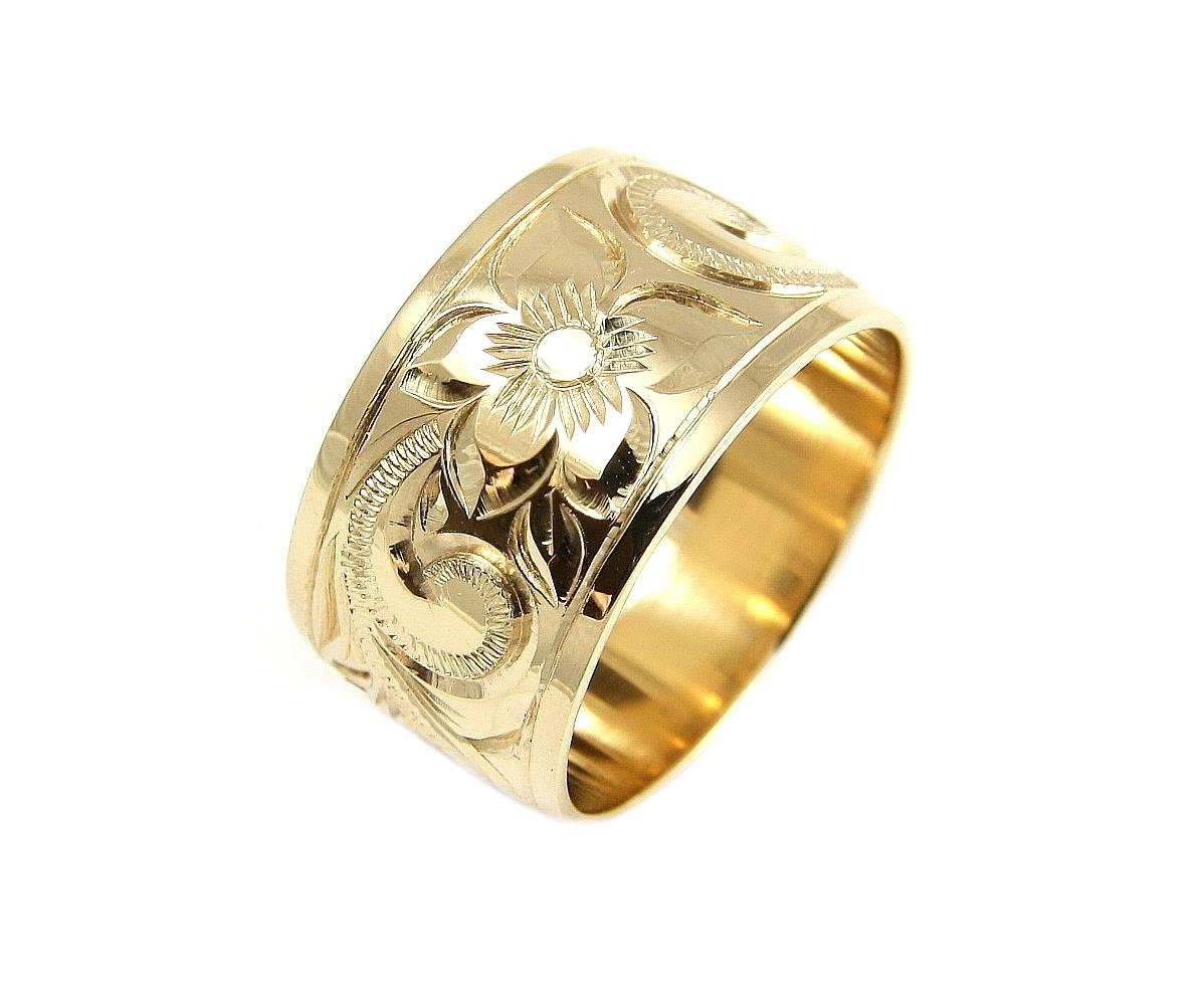 14K yellow gold hand engrave Hawaiian plumeria scroll band ring smooth edge 12mm size 10