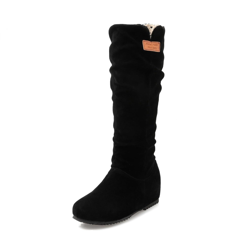 Noir DYF Chaussures Bottes Femmes Grande Taille à Fond Plat de Couleur Solide de Grande Taille en Peluche 41 EU