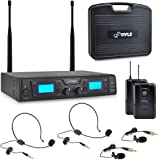 Pyle UHF Wireless Microphone & Rack Mountable Receiver System 2 Belt Packs, 2 Lavelier/Lapel MIC Travel Case 16 Channel Frequency Independent Channel Volume Control LCD Digital Display (PDWM3365)